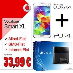 Playstation 4 und Samsung Galaxy S5 im Vodafone Smart XL - Junge Leute für nur 33,99€ monatlich