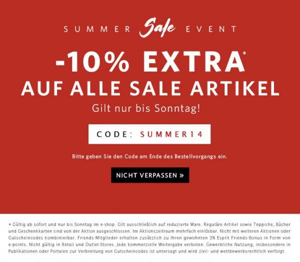 Bis zu 70% im Esprit Sale + zusätzlich 10% Gutschein bis Sonntag