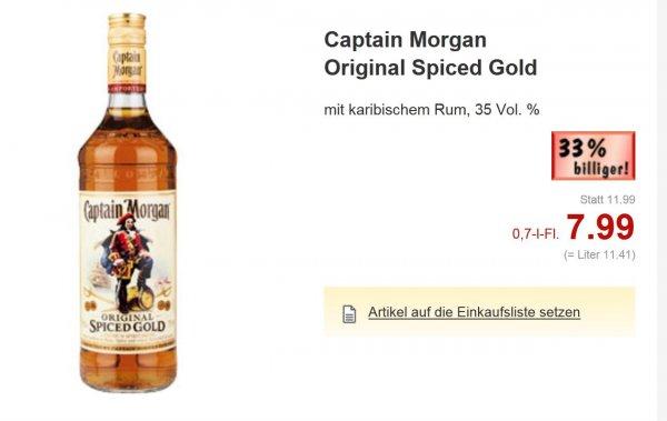 Kaufland (Landesweit NRW evtl.Bundesweit) Captain Morgan Original Spiced Gold 7,99€ 0,7L