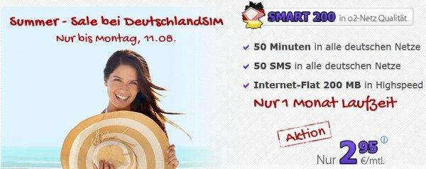Deutschlandsim O2 Summer - Sale Smart 200 o2 Netz 50Min/50SMS/200MB mtl.kündbar 2,95€
