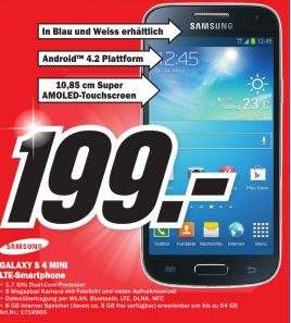 Samsung Galaxy S4 Mini für 199€ Lokal [Mediamarkt Düsseldorf Metrostraße]