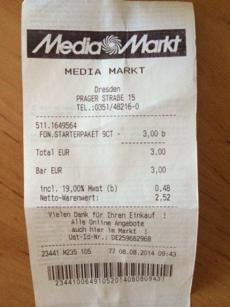Fonic Prepaid 15€ Startguthaben + KWK @ Media Markt ggf. lokal
