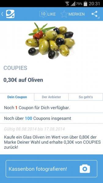 [COUPIES] 30 Cent auf Oliven (ab 80 Cent)