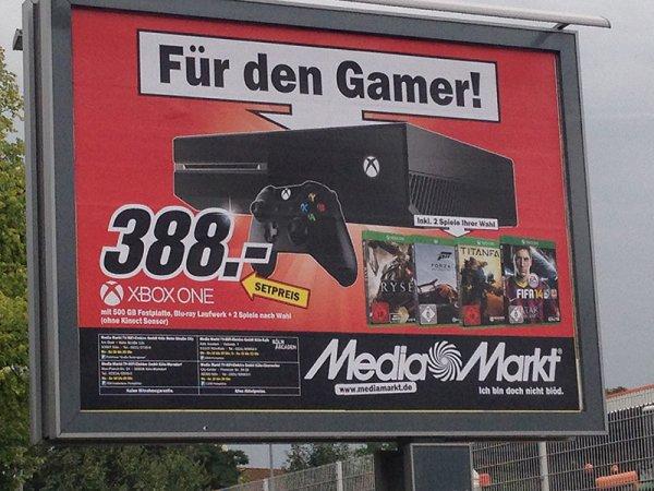 [Lokal MM Köln] Xbox One + 2 Spiele (Titanfall/Forza 5/FIFA14/Ryse) 388€