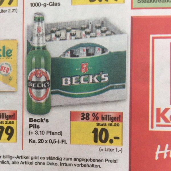 [Lokal Nordbayern] Kaufland Beck's Kasten 20x0,5l für 10€ zzgl. Pfand