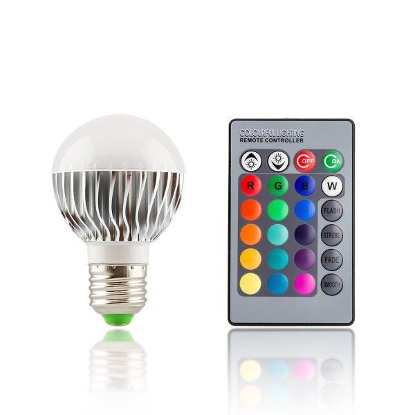 E27 LED Farbwechsellampe klein RGB (multicolor) mit Fernbedienung 5W (Watt) dimmbar 120° ** 9,99€ +  3,99€ **