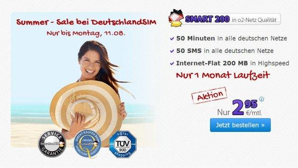 DeutschlandSIM (o2) – 50 Minuten / 50 SMS / 200MB für 2,95€ pro Monat