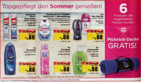 [lokal? Kaufland] Fa Deo Duschgel Seife, Theramed 0,88€: 6 Produkte kaufen = 1 Picknickdecke GRATIS