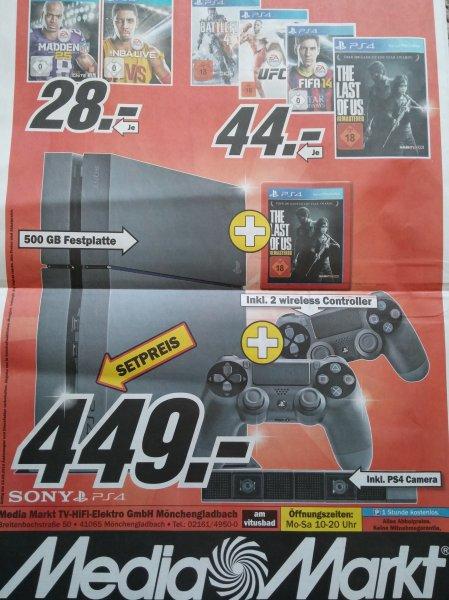 [LOKAL?] PlayStation 4 + 2. Controller + Kamera + The Last of us bei Media Markt MG