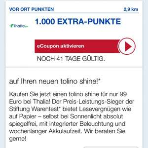 Tolino Shine - 89€ durch Payback - Thalia