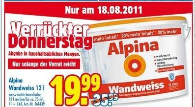 [offline @Praktiker] Alpina Wandweiss 12l am Donnerstag den 18.08.