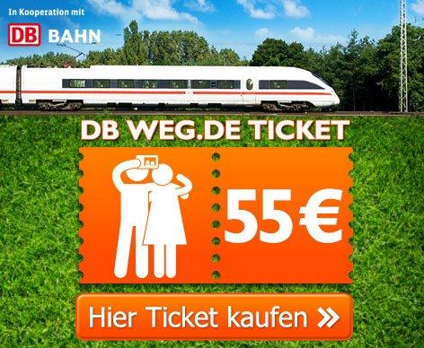 Bahn-Tickets für 2 Personen über weg.de für 55€ (Reise bis zum 2.10) - Buchbar ab 15.08.