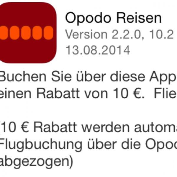 Opodo 10€ Rabatt bei Flügen über Iphone App