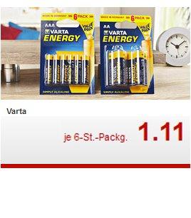 VARTA Batterien 6er Packung (4+2), AA oder AAA für 1,11€ ab 18.08.[Kaufland]