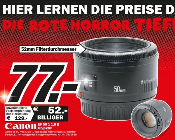 Canon EF 50mm f1.8 II für 77€,Big bang theory staffel Bluray je 10€ und weitere angebote Lokal @ Mediamarkt Wuppertal