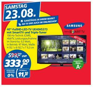 [Real] Preisbrecher 23.08.Samsung, Full HD LED TV 116cm (46 Zoll), UE46H5373, Triple Tuner, Smart TV