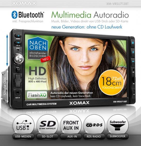 """XOMAX XM-VRSU713BT Autoradio Moniceiver mit 18 cm / 7"""" Touchscreen Display + Bluetooth Freisprecheinrichtung und Musikwiedergabe via A2DP + USB Anschluss (bis 32 GB!) & SD Karten Slot (bis 32 GB!) für Audio und Video Dateien: MP3, WMA, MPEG4, AVI, DI"""