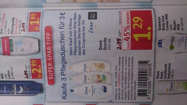 Ab 18.08 - Rossmann offline: 3x Dove Pflegedusche (auch for men) für 3€ mit Coupon