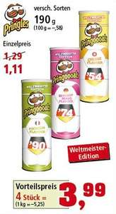 4 Packungen Pringles Weltmeisteredition bei Thomas Philipps für 3,99€, oder einzeln für 1,11€