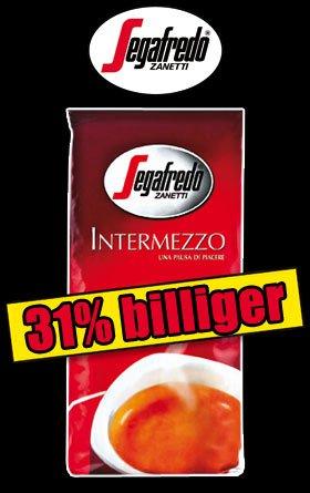 [NormaOffline] 1 kg Kaffee Segafredo Intermezzo ganze Bohne  für 8,88€