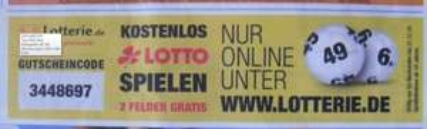 2 Felder Lotto Gratis Lotterie.de für Neukunden bis 31.12.2014