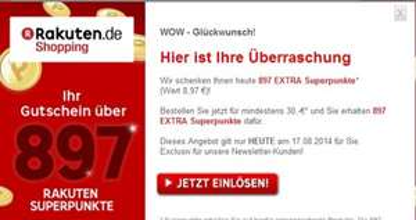 Rakuten 897 Superpunkte (=8,97€) / MBW 30€