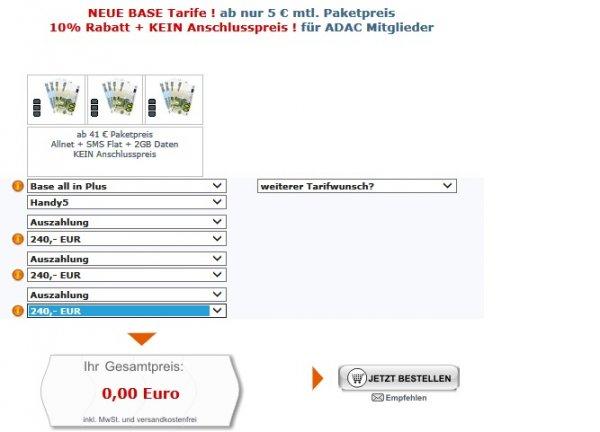 BASE all in Plus Handy5, AllNet-Flat, SMS-Flat, Internet-Flat (2 GB), ...