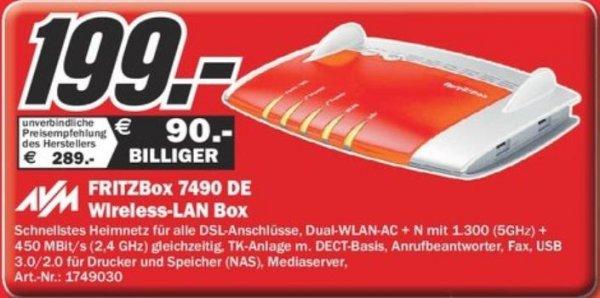 Lokal @ Mediamarkt Essen - Fritzbox 7490 DE Wlan Router für 199,00