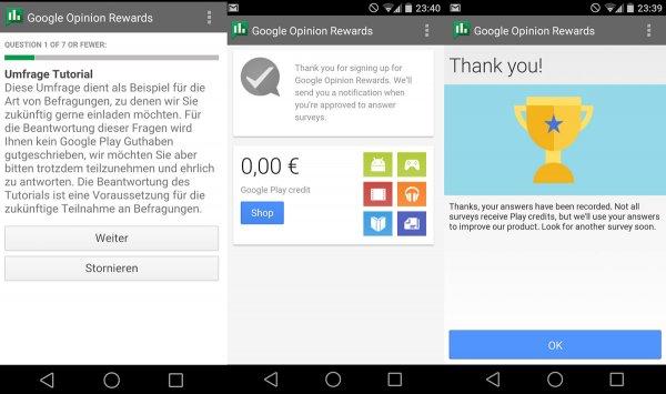 Google Opinion Rewards - Umfragen beantworten und Google Play Guthaben erhalten