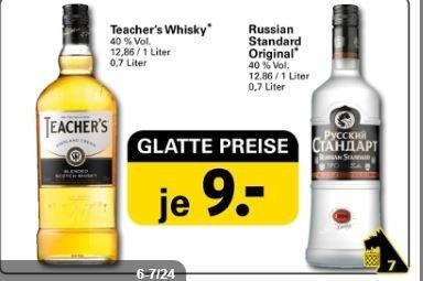 Russian Standard (0,7l) und Teacher's Whisky (0,7l) für jeweils 9 EUR bei netto (mit Hund)