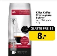 Käfer Kaffee Crema ganze Bohnen (1kg) + Kaffeelöffel für 8 EUR #netto (mit Hund)