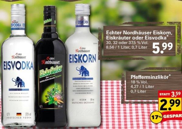 [Netto Supermarkt] Nordhäuser Eiskorn, Eiskräuter, Eisvodka 0,7 Liter für je 5,99€