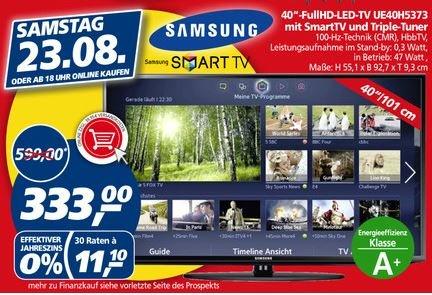 [Real] nur am 23.8.2014 Samsung UE40H5373 LED Smart-TV mit Triple-Tuner für 333,- Euro