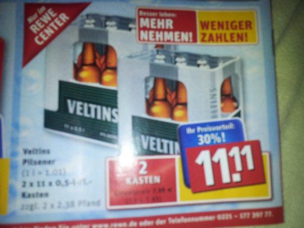 Zwei 11er-Kästen Veltins im Rewe Center für 11,11€ oder Sester Kölsch für 7,77€