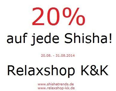 20 % auf alle Wasserpfeifen | Shisha bei relaxshop-kk.de