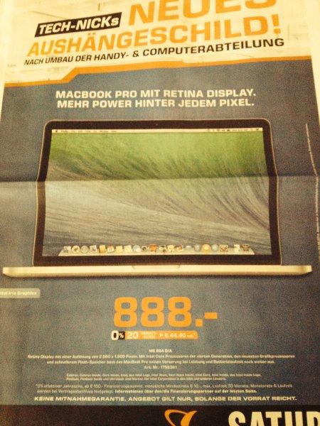 """[Lokal Saturn Köln] 13"""" Macbook Pro mit Retina Display (ME864D/A i5 2,4GHz 4GB RAM 128GB SSD)"""