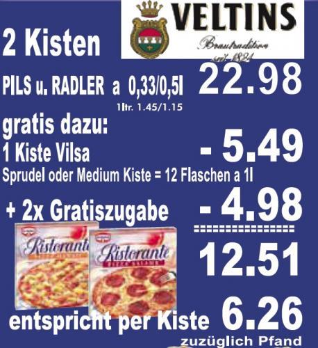 2 Kisten Veltins/Radler + 2 Dr. Oetker Ristorante + Kiste Vilsa = 22,98,-