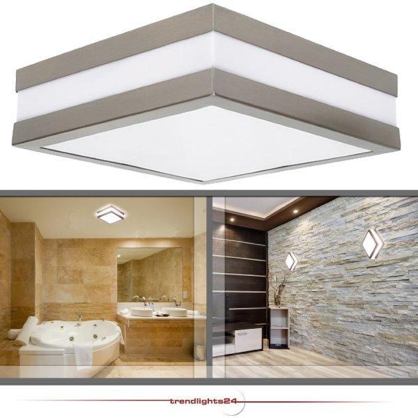 Wandleuchte Deckenleuchte SAVONA eckig / quadratisch IP44 LED E27 für bis zu 2x18 Watt (-18%)