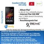 Sony Xperia M + Vodafone Allnet Flat (500MB) Vertrag für 9,99 im Monat (Mobilcom Debitel) E-bay