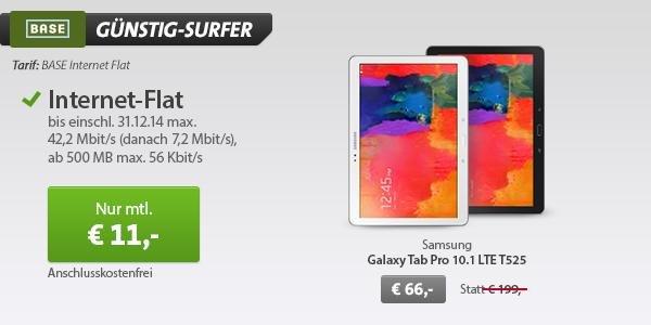 samsung Galaxy Tabpro 10.1 LTE T525 inkl BASE internet Flat Rechnerisch 330€