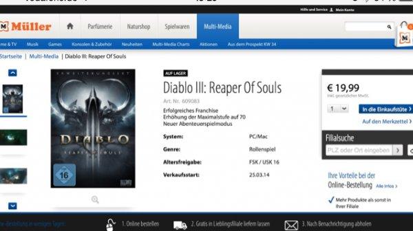 Diablo 3 AddOn - Reaper of Souls [halb lokal - Abholung in Müller-Filiale]