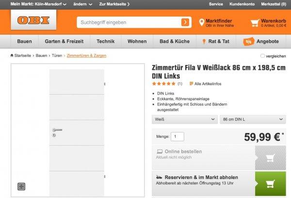 Zimmertür Fila V Weißlack 86 cm x 198,5 cm (lokal Köln Marsdorf)