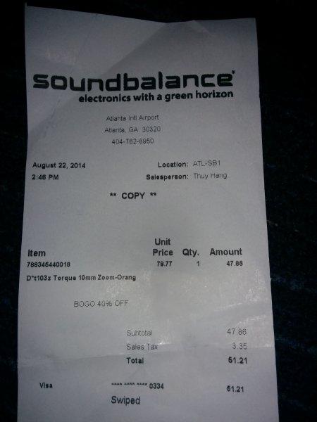 Lokal (Altlanta Airport USA): In-Ear-Kopfhörer Torque T103z für 51,21$ (39€) anstatt 162€