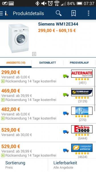 299€ statt 469€ Waschmaschine Siemens 12E344
