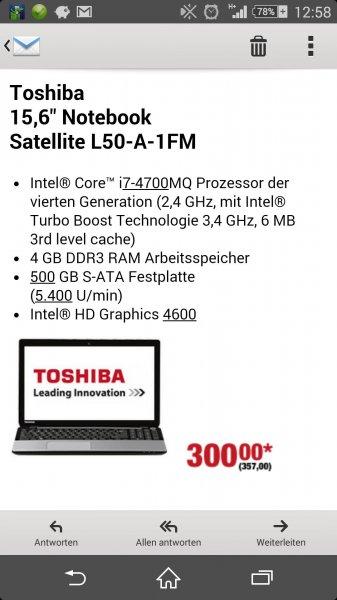 """[Metro] Toshiba Satellite Notebook 15,6"""" mit Intel i7 (solange Vorrat reicht)"""