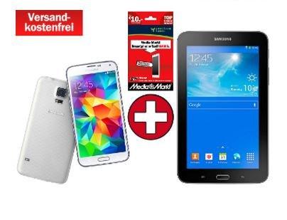 !!!Ausverkauft!!!  [Media Markt Online] Samsung Galaxy S5 (white) + Galaxy Tab3 7.0 Lite + MM Prepaid Karte inkl. € 10 Guthaben