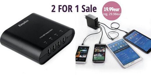 2 für 1: EasyAcc 31 Watt 5V / 6A 4-Port Portable USB Ladegerät und 31W 5V 6.2A 4-Port USB Ladegerät für 19,99€