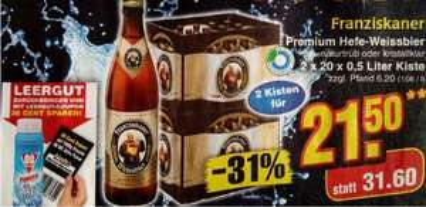Bier- Angebote, Franziskaner, Becks, Paulaner usw. bei Netto (ohne Hund)