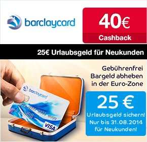Letzter Tag: Barclaycard New Visa Kreditkarte mit 25 € Startguthaben und 40 € qipu, dauerhaft beitragsfrei