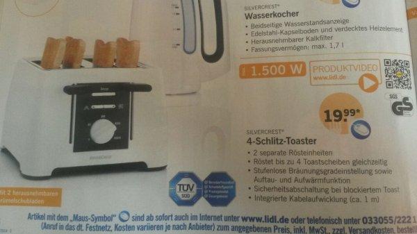 4-Schlitz-Toaster bei Lidl ab 4.9 für 19,99€